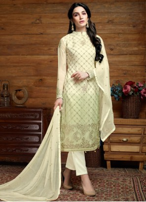 Faux Chiffon Embroidered Cream Trendy Salwar Suit