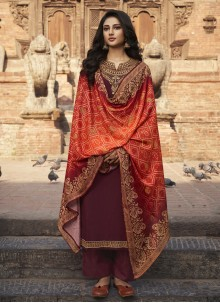 Faux Chiffon Embroidered Designer Palazzo Salwar Suit in Wine