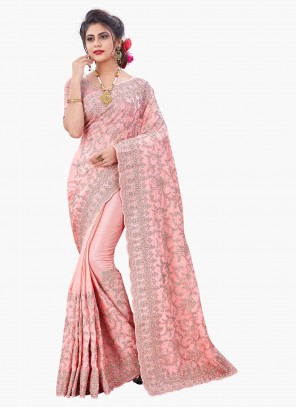 Pink Faux Chiffon Embroidered Designer Saree