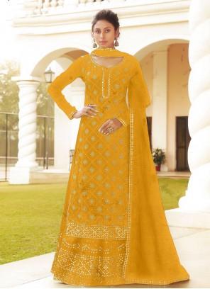 Faux Chiffon Embroidered Long Choli Lehenga in Yellow