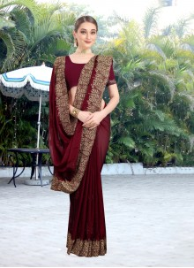 Faux Chiffon Embroidered Maroon Contemporary Saree