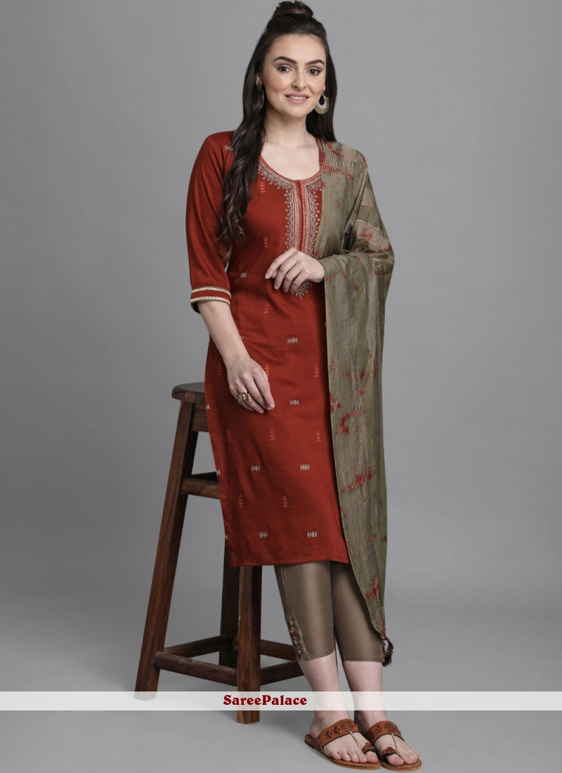 Faux Chiffon Embroidered Maroon Readymade Suit