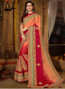 Faux Chiffon Embroidered Shaded Saree in Peach and Red