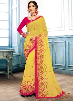Faux Chiffon Embroidered Traditional Saree in Yellow