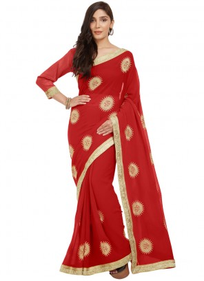Faux Chiffon Embroidered Work Casual Saree
