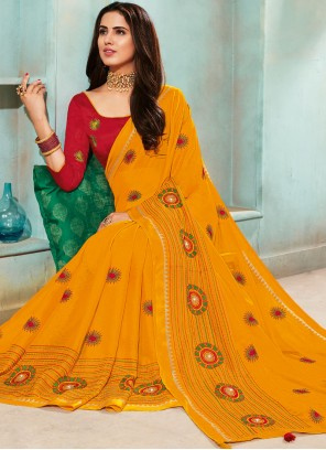 Faux Chiffon Embroidered Yellow Trendy Saree