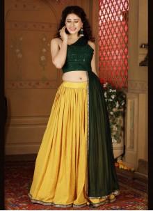 Faux Chiffon Fancy Green and Yellow Readymade Lehenga Choli