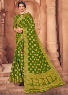 Faux Chiffon Fancy Green Classic Saree