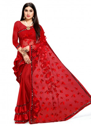 Faux Chiffon Fancy Red Designer Half N Half Saree