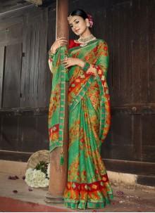 Multi Colour Faux Chiffon Festival Printed Saree