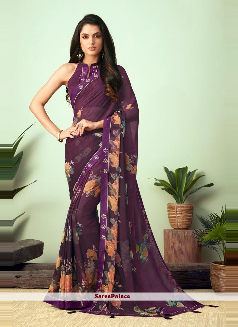Purple Faux Chiffon Floral Print Casual Saree