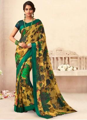 Faux Chiffon Floral Print Multi Colour Classic Saree