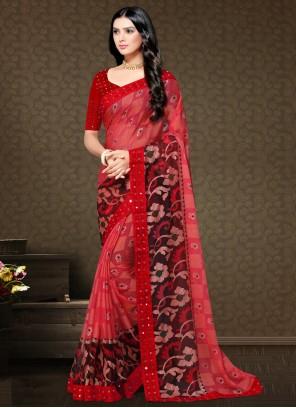 Faux Chiffon Floral Print Red Trendy Saree