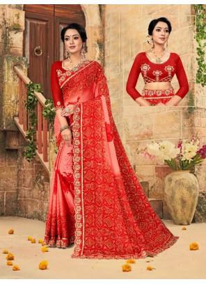 Faux Chiffon Foil Print Multi Colour Trendy Saree