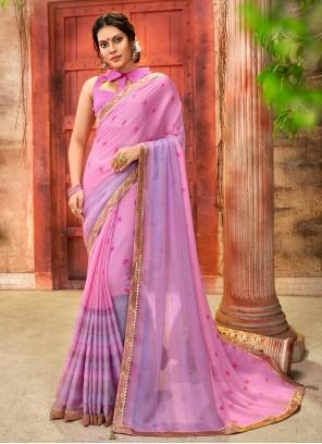Faux Chiffon Foil Print Pink Printed Saree
