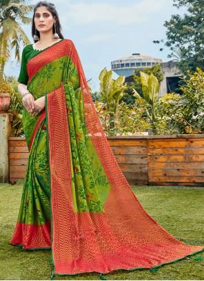 Faux Chiffon Green Abstract Printed Saree