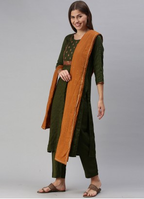 Faux Chiffon Green Embroidered Pant Style Suit