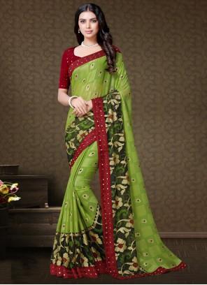 Faux Chiffon Green Floral Print Classic Saree