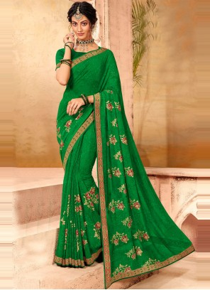 Faux Chiffon Green Patch Border Classic Designer Saree