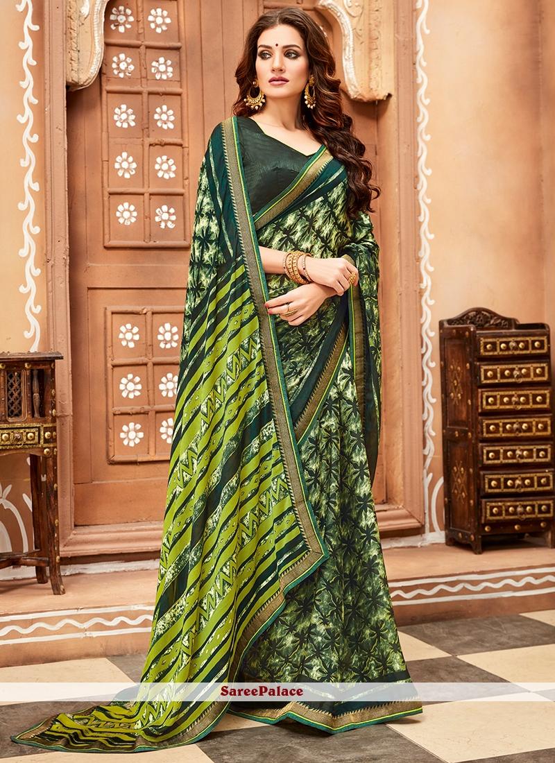 Faux Chiffon Green Printed Casual Saree