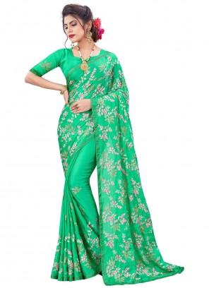 Faux Chiffon Green Resham Designer Traditional Saree