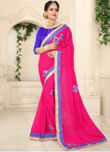 Faux Chiffon Hot Pink Classic Saree