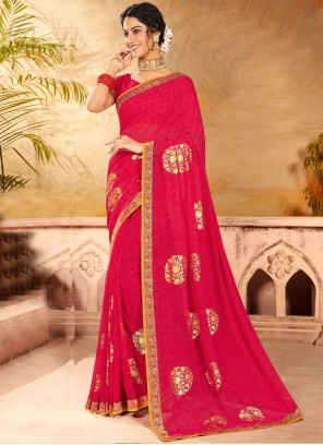 Faux Chiffon Hot Pink Embroidered Classic Saree