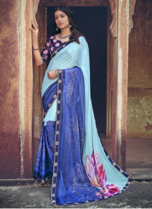 Faux Chiffon Lace Multi Colour Printed Saree