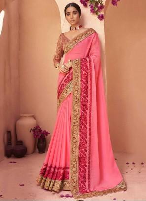 Faux Chiffon Lace Pink Trendy Saree