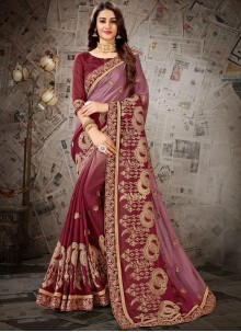 Faux Chiffon Maroon Embroidered Designer Saree