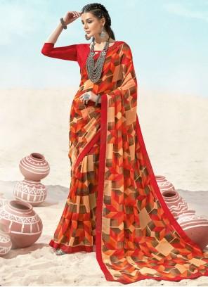 Faux Chiffon Multi Colour Abstract Print Casual Saree
