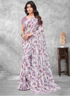 Faux Chiffon Multi Colour Abstract Print Traditional Saree