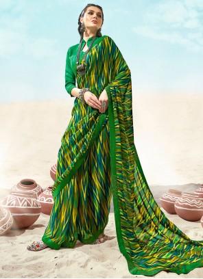 Faux Chiffon Multi Colour Casual Saree