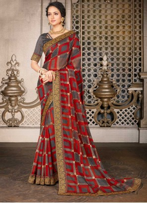 Faux Chiffon Multi Colour Designer Traditional Saree