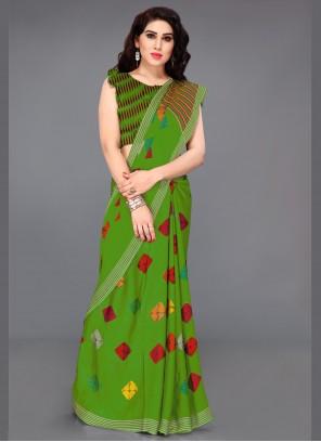 Faux Chiffon Multi Colour Printed Designer Saree