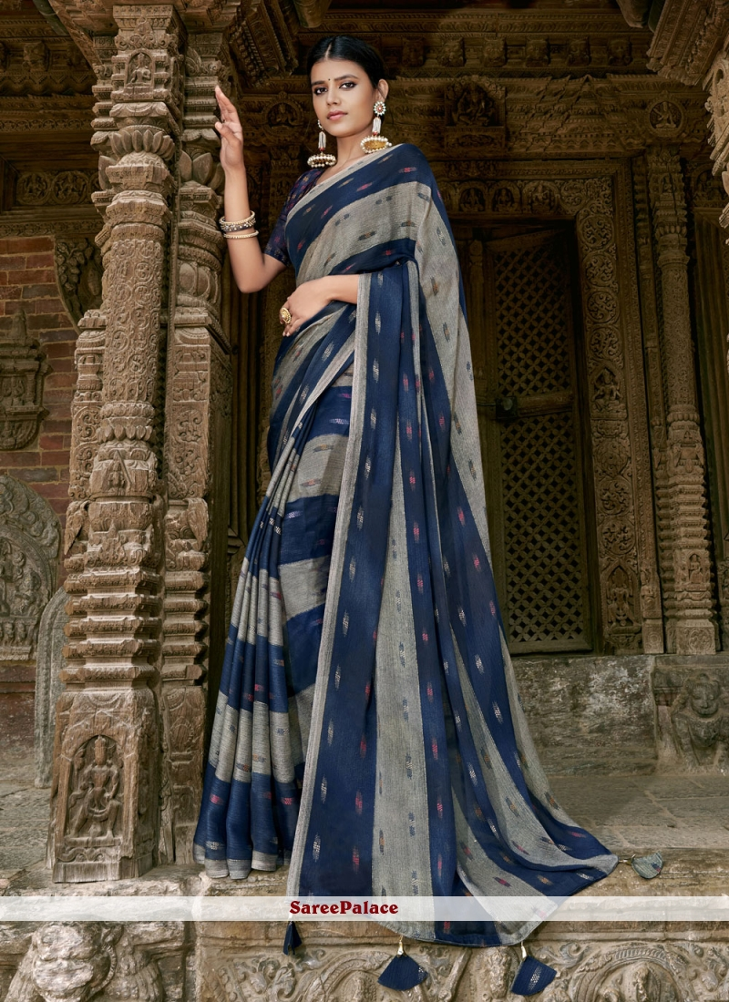 Faux Chiffon Multi Colour Printed Trendy Saree