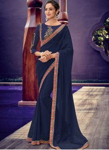 Faux Chiffon Navy Blue Border Designer Saree