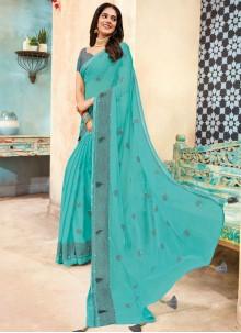 Faux Chiffon Navy Blue Traditional Designer Saree