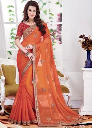 Faux Chiffon Orange Embroidered Classic Saree