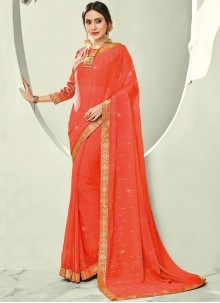 Faux Chiffon Orange Trendy Saree