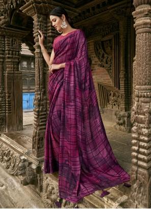 Purple Faux Chiffon Party Trendy Saree