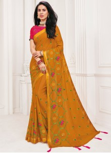 Faux Chiffon Patch Border Orange Classic Designer Saree