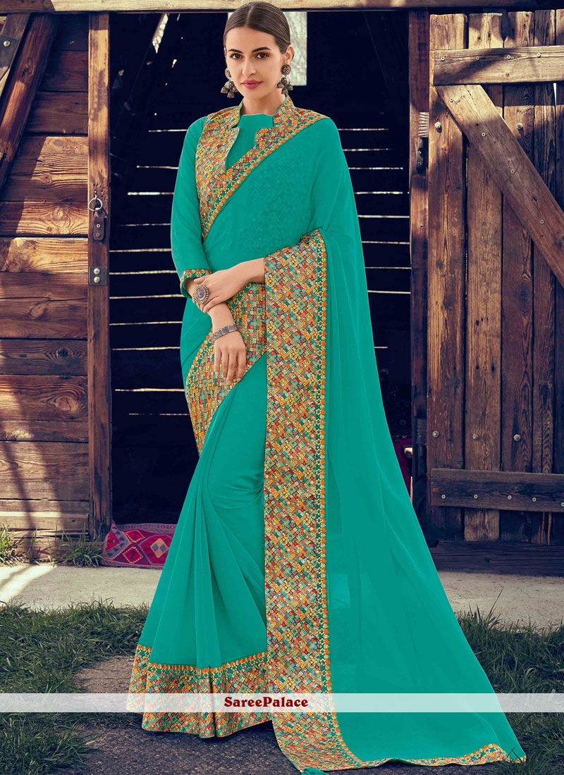 Faux Chiffon Patch Border Turquoise Designer Traditional Saree