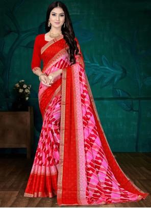 Faux Chiffon Pink and Red Abstract Printed Saree