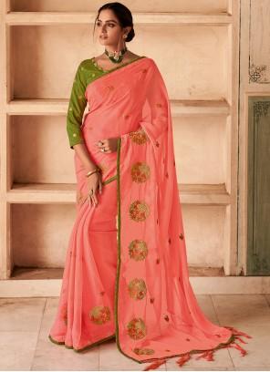 Faux Chiffon Pink Classic Designer Saree
