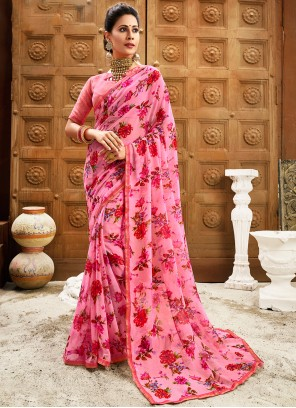 Faux Chiffon Pink Contemporary Saree