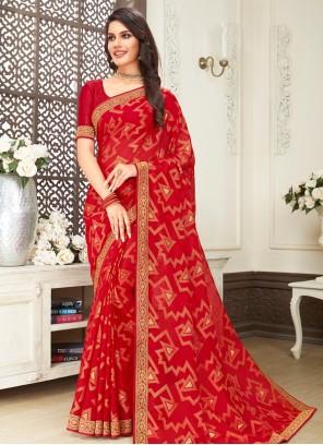 Faux Chiffon Print Classic Saree in Red