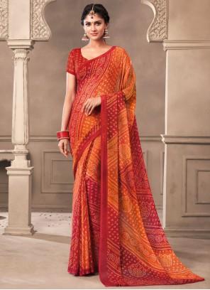 Faux Chiffon Print Orange and Red Saree