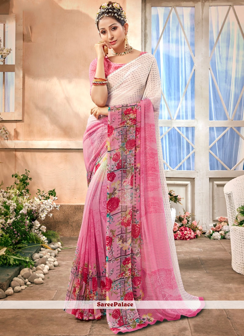 Faux Chiffon Printed Casual Saree in Pink