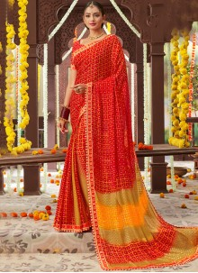 Faux Chiffon Printed Classic Saree in Red
